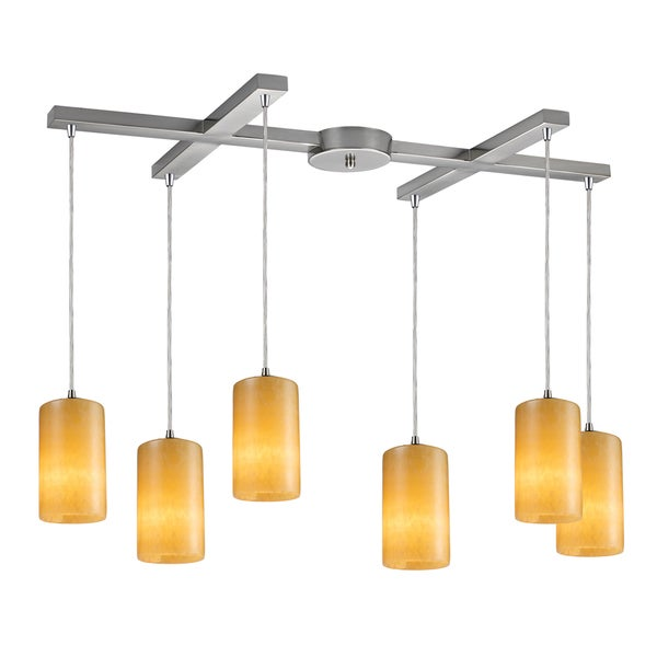 Coletta 6-light Satin Nickel Stone Pendant