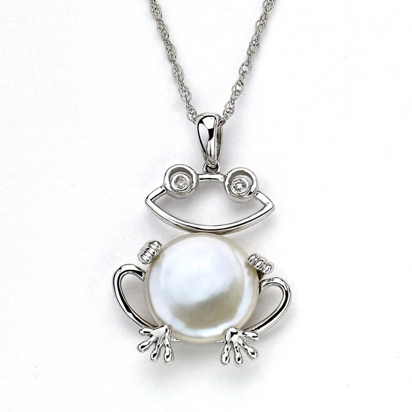 Soho Boutique by Neda Behnam 14k White Gold Freshwater Pearl and Diamond Accent Frog Pendant Necklace