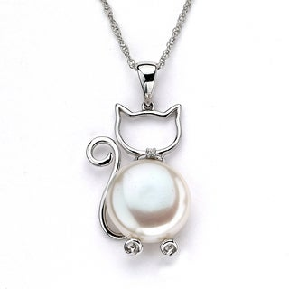 Soho Boutique by Neda Behnam 14k White Gold Freshwater Pearl and Diamond Accent Cat Pendant Necklace (11-12 mm)