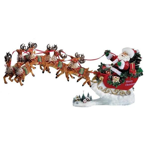 Kurt Adler 24-inch Fabriche Musical Santa with Eight Reindeer, Set of 2-piece