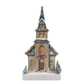 Kurt Adler 14.6-inch Kringle Lane LED Stone Church