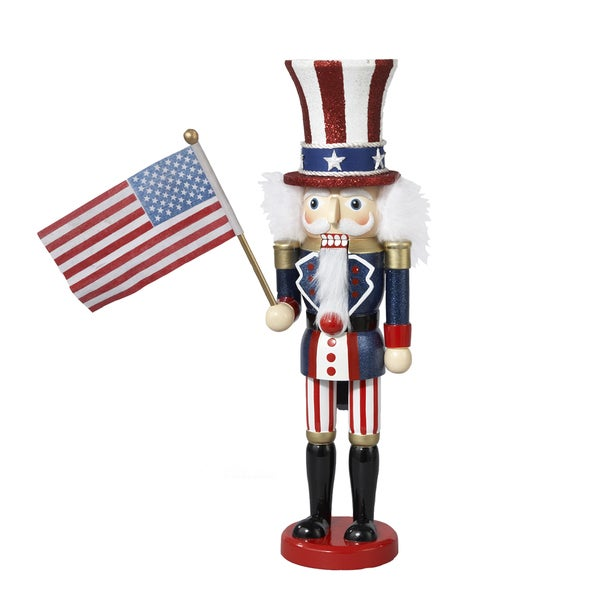 Kurt Adler 15-inch Hollywood Wooden Uncle Sam Nutcracker