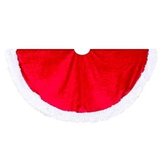 Kurt Adler 48-inch Red Velvet Treeskirt with White Trim