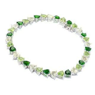 Sterling Silver 15 1/3ct TGW Green Multi-gemstone Tennis Bracelet