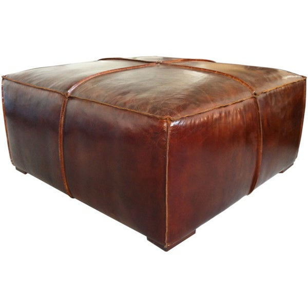 Aurelle Home Brown Distressed Leather Wrapped Coffee Table Ottoman