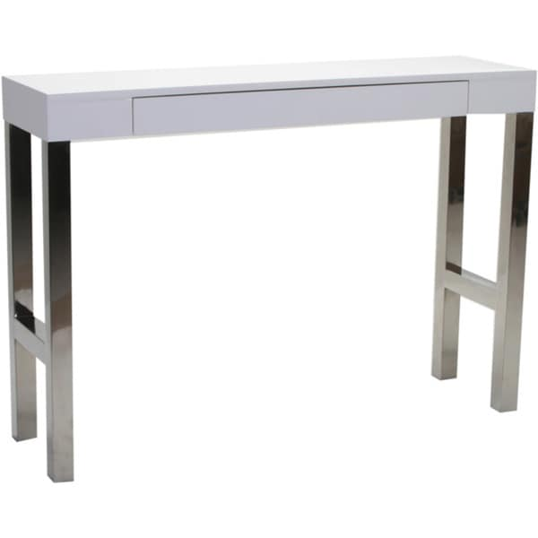 Aurelle Home White Lacquer Console Table 16669234