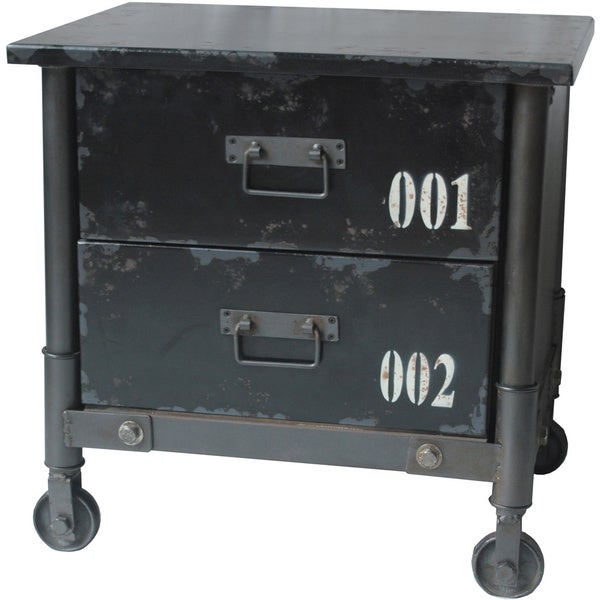 Aurelle Home Grove 2-drawer Black Industrial Cabinet