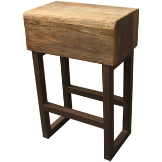 Viggo Natural Wood-seal and Iron Bar Stool