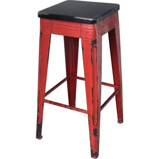Distressed Red Iron Bar Stool