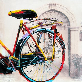 Art in style 39 bicycles in a row 39 hand painted wall art for Bicycle painting near me