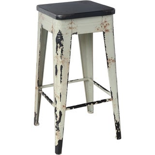 Distressed White Wooden Bar Stool