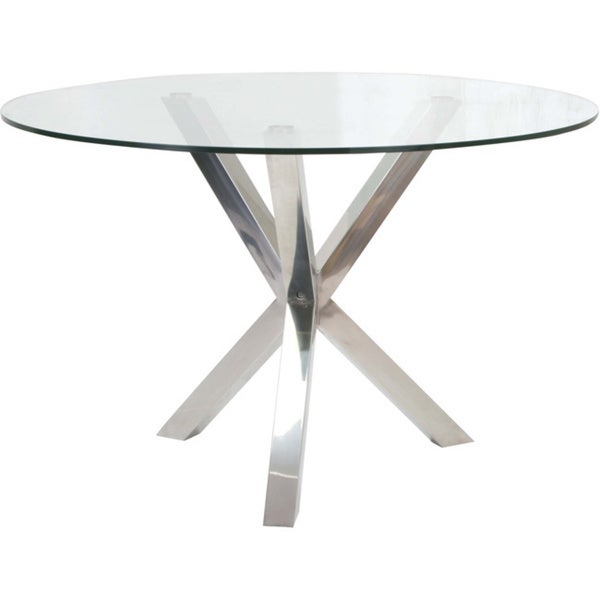 Aurelle Home Sara Glass Metal Dining Table 16669194
