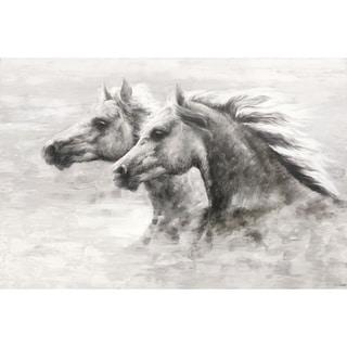 Horses Black and White Canvas Art Print