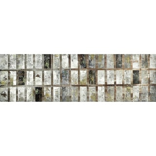 'Time' Silvertone Geometric Abstract Canvas Art