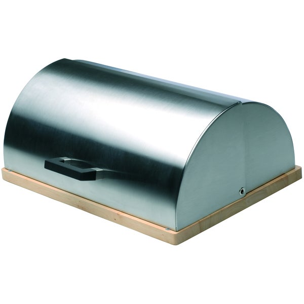 Cubo Stainless Steel/ Rubberwood Bread Bin