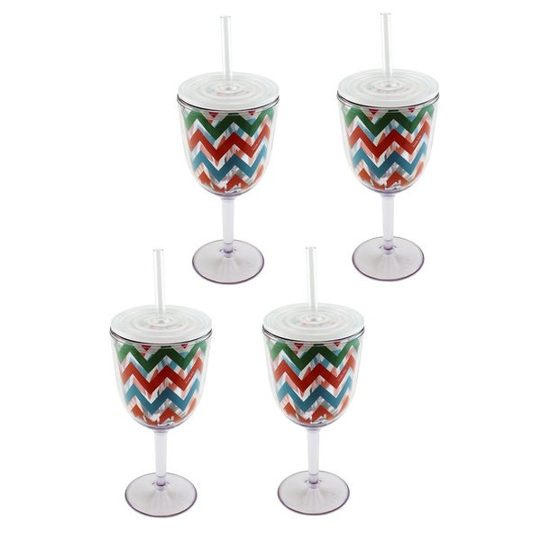Chevron Pattern Acrylic Wine Glass (Set of 4)