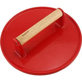 Red Cast Iron Steak Press