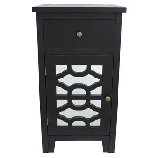 Black End Table with Geometric Pattern and Mirror Accent