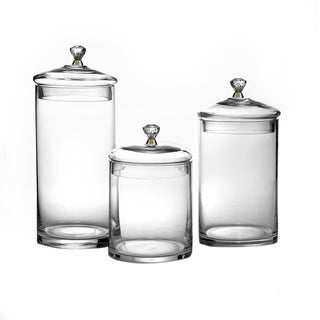 Glass Canisters with Knobs (Set of 3)