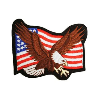 Flying Blad Eagle With American Flag Patch