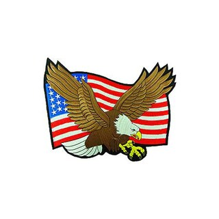 Flying Bald Eagle With American Flag Large Patch