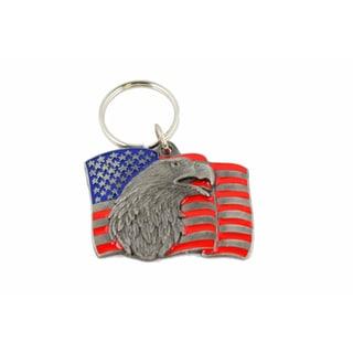 American Flag Bald Eagle Keychain