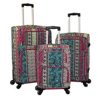 World Traveler Artisan Prints 3-Piece Expandable Spinner Upright Luggage Set
