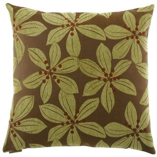 Green Tropical Leaf Feather Filled 24-inch Throw Pillow