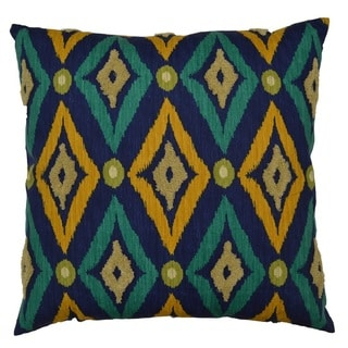 Navy Modern IKAT Feather Filled Throw Pillow