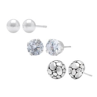 Tressa Collection High Polish Sterling Silver Earrings (Set of 3)