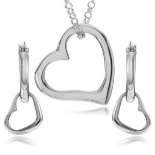 Journee Collection Sterling Silver Heart Earrings and Necklace Set
