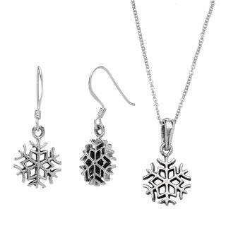 Journee Collection Sterling Silver Snowflake Earrings and Necklace Set