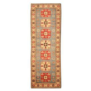 Heart Oriental Afghan Hand-knotted Tribal Kazak Blue/ Red Wool Rug (2'1 x 5'9)