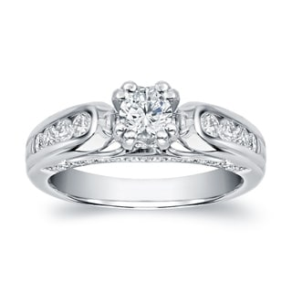 Auriya 14k White Gold 1 1/3ct TDW Round Diamond Engagement Ring (H-I, SI1-SI2)