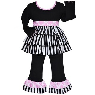 AnnLoren Boutique Girls Cotton Black and White Stripe Rumba Tunic with Pants