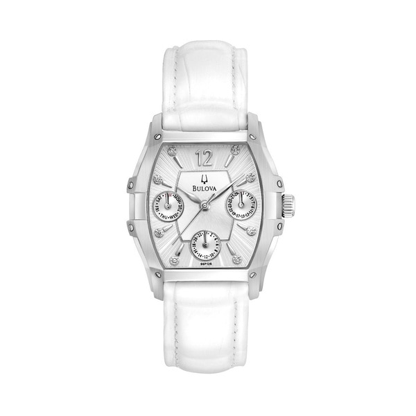 Bulova Women's 96P126 Diamond Multifunctional White Watch