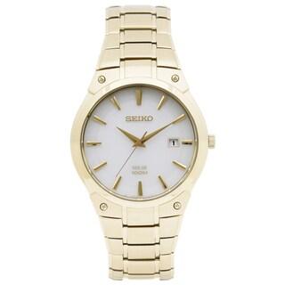 Seiko Men's SNE342 Solar White Dial Goldtone Watch