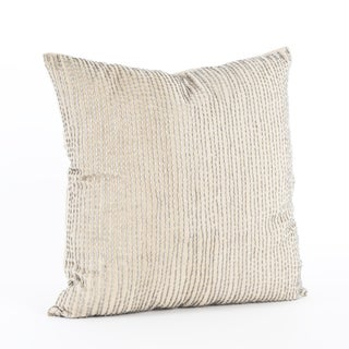 Silver Beaded 18-inch Down Filled Throw Pillow
