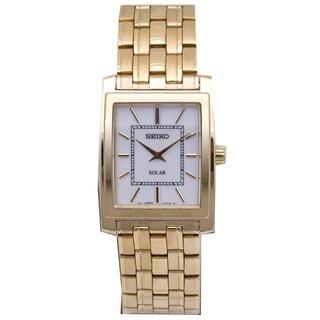Seiko Men's SUP892 Solar Rectangle Dial Goldtone Watch