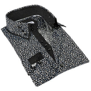 John Lennon Men's Black and White Dot Pattern Sport Shirt