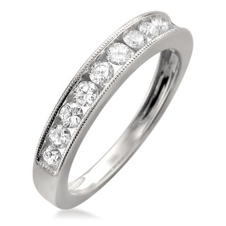 18k White Gold 1ct TDW Round-cut Channel Wedding Band (F-G, VS1-VS2)