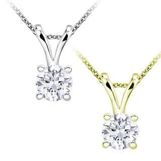 10k Gold 3/8ct TDW Round-cut Diamond Necklace (I-J, I2-I3)
