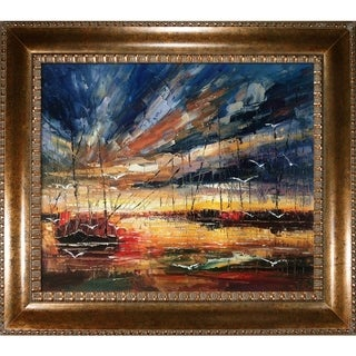Justyna Kopania 'Harbour' Hand-painted Framed Canvas Art