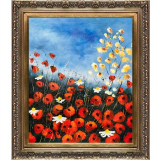 Pol Ledent 'Red Poppies 451140' Hand-painted Framed Canvas Art