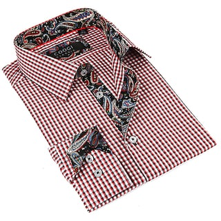 Coogi Luxe Men's White and Red Button-down Dress Shirt