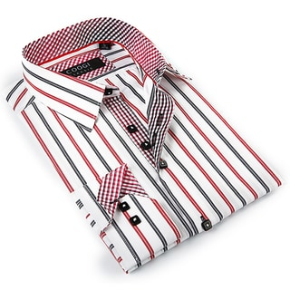 Coogi Luxe Men's Black and Red Button-down Dress Shirt