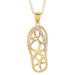Fremada Gold Over Sterling Silver Starfish Flip Flop Diamond Accent Necklace