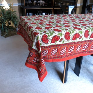 Hand Block Printed Rajastani Lotus Flower Print 100 Cotton Tablecloth (India)