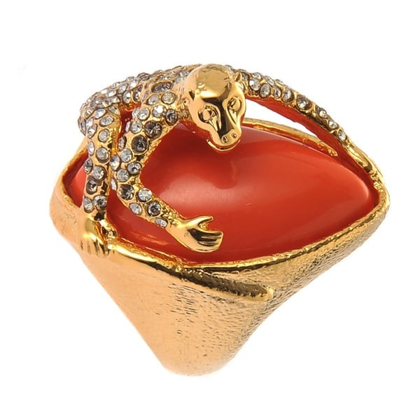 De Buman 18k Goldplated Monkey Gemstone Ring