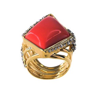 De Buman 18k Goldplated Created Red Coral Ring